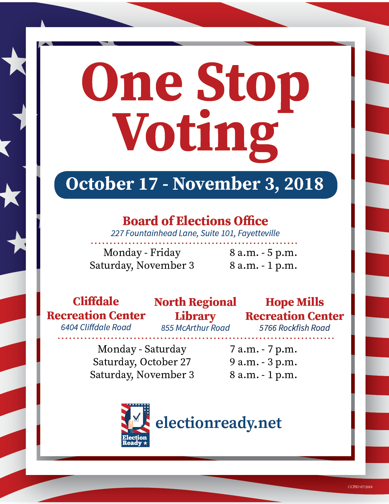 One-stop voting schedule